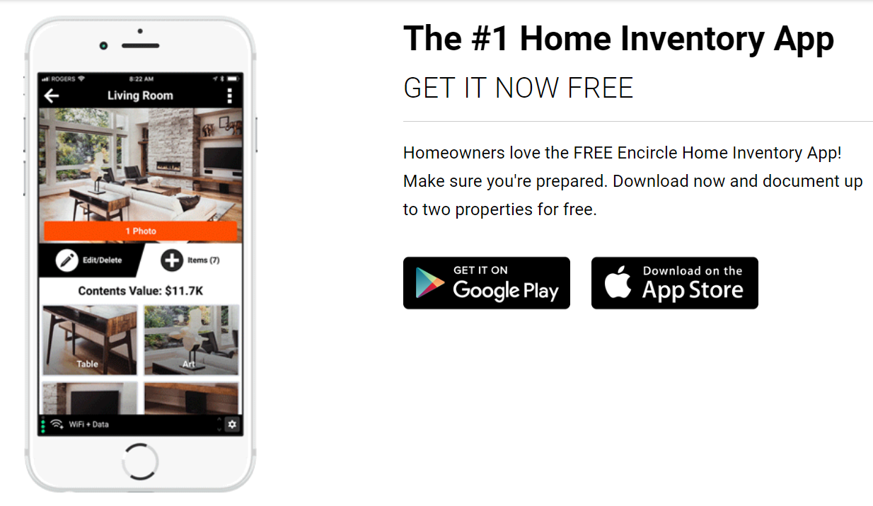encircle home inventory app