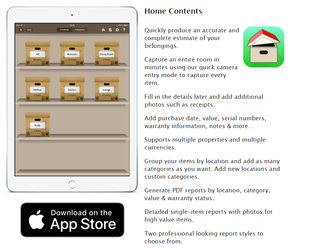home contents inventory app