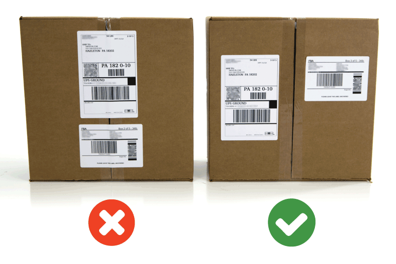 attach the shipping label to package