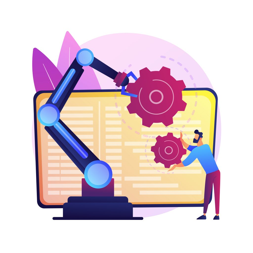 Collaborative robotics abstract concept vector illustration. Collaborative artificial intelligence, manufacturing robotics, cobot automatization, safe industry solutions abstract metaphor.