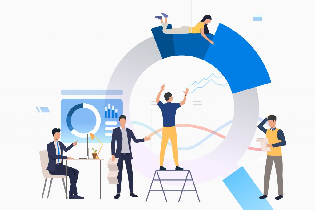 Team leader managing project. Office employees building diagram. Analysis concept. Vector illustration can be used for topics like statistics, data analyzing, management