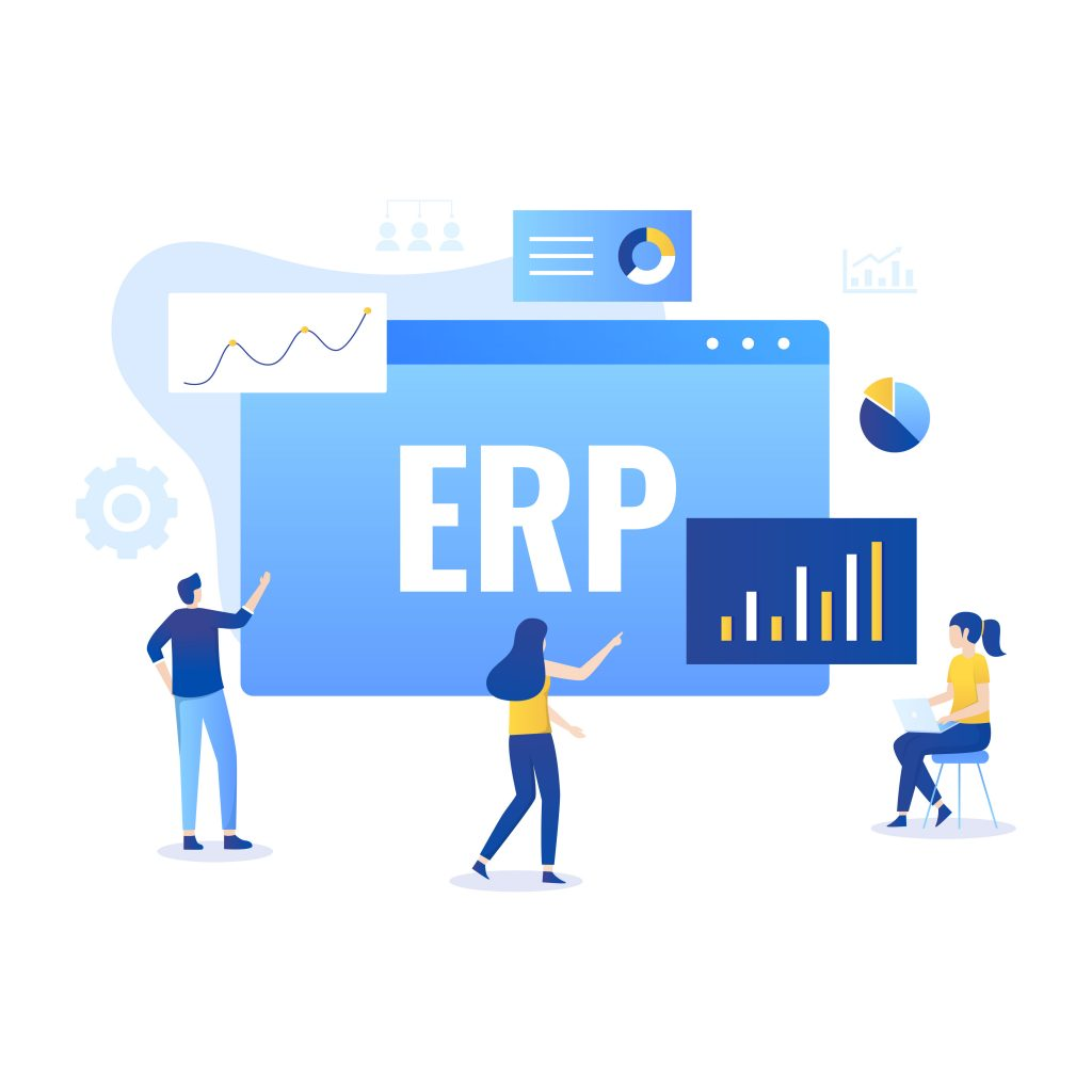 ERP Enterprise resource planning illustration concept, productivity and company enhancement. Illustration for websites, landing pages, mobile applications, posters and banners