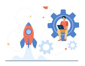 Happy guy developing project for startup. Rocket, launch, laptop flat vector illustration. Business or development concept for banner, website design or landing web page