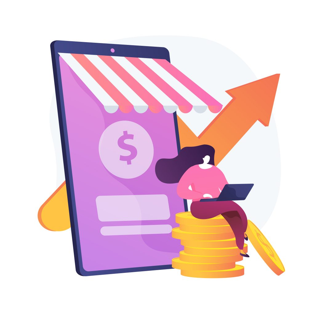 Income growth. freelancer sitting on coins and working with a laptop cartoon character. money earning, virtual sales, marketing strategy. vector isolated concept metaphor illustration Free Vector