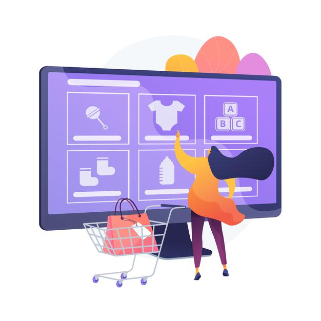 Ordering goods online. internet store, online shopping, niche e commerce website. mother buying babies clothes, footwear and toys, infant accessories. vector isolated concept metaphor illustration Free Vector