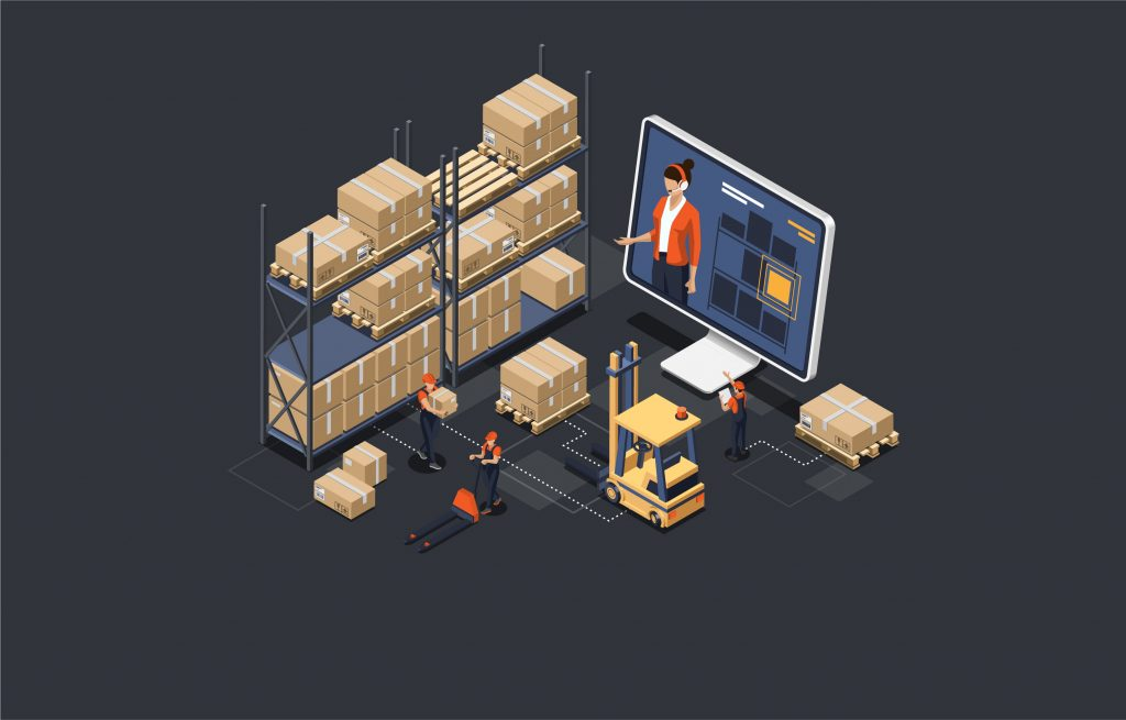 """""""Isometric warehouse online manager concept. the process of online warehouse management compositions including loading and unloading cargo, inventory sorting and storage."""""""