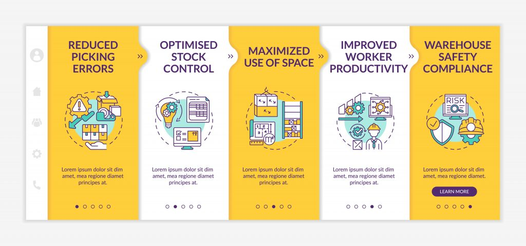 """""""Warehouse service onboarding template. improved worker productivity. optimized stock control. responsive mobile website with icons. webpage walkthrough step screens"""""""