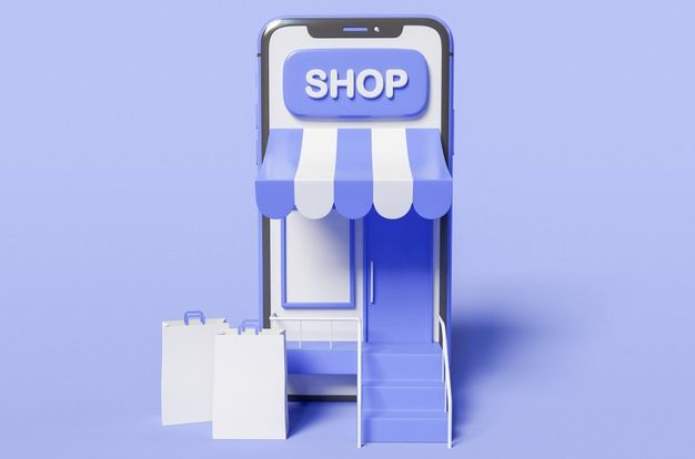3d illustration. smartphone with a store on screen and with paper bags. shop online concept