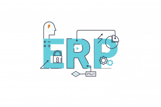 """Erp - enterprise resource planning word lettering typography design illustration Premium Vector"""