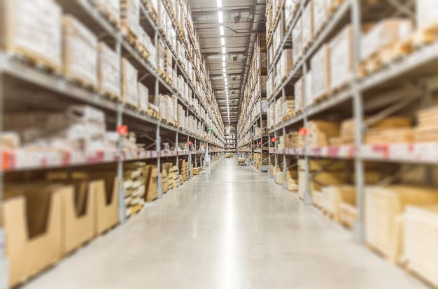 Large inventory. warehouse goods stock for logistic shipping banner background. Premium Photo