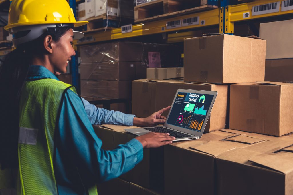 """""""Warehouse management software application in the computer for real-time monitoring"""""""