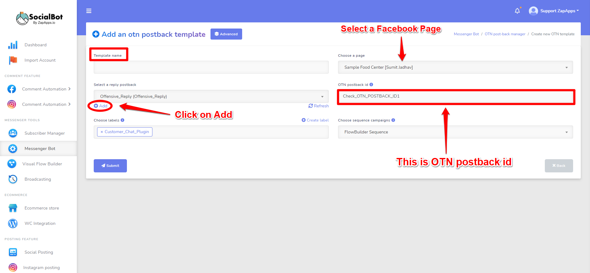 Screenshot on Send Promotional Messages Using One Time Notification for Facebook Messenger
