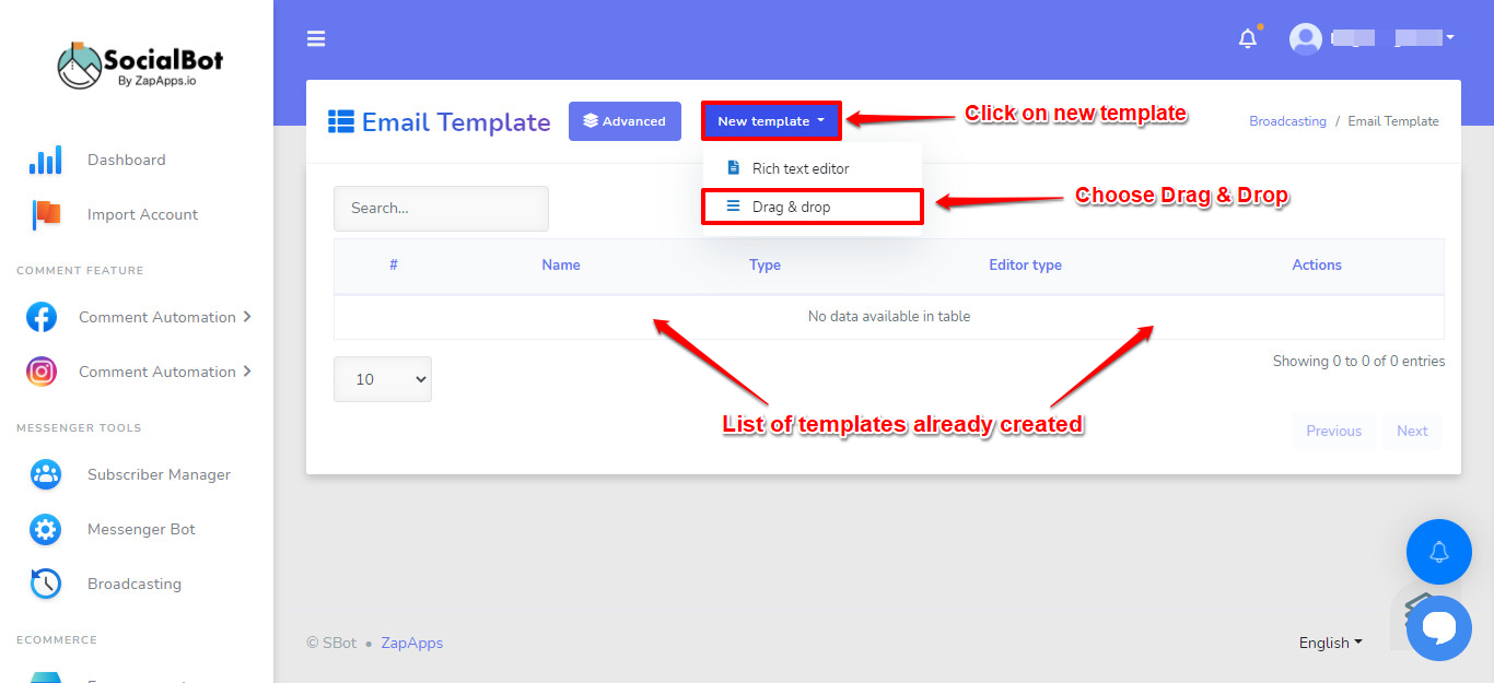 Screenshot on How to Create Beautiful Email Templates in SocialBot