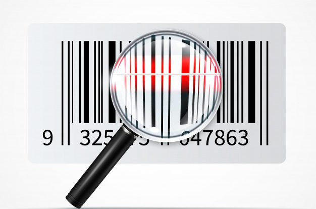 """Bar code magnifier realistic illustration Free Vector"