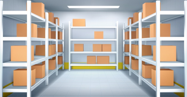 """Cold room in the warehouse with cardboard boxes on racks. realistic interior of industrial storage with shelves, tiled walls, and floor. refrigerator chamber in factory, store or restaurant"