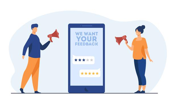 """""""Online shop managers asking clients for feedback. screen, rate, people with megaphone. cartoon illustration Free Vector"""""""