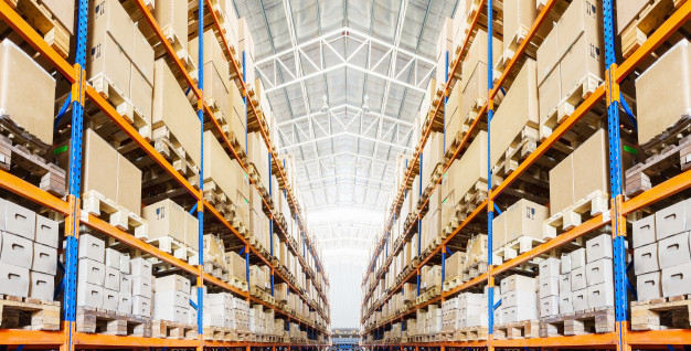 """""""Rows of shelves with boxes in modern warehouse Premium Photo"""""""