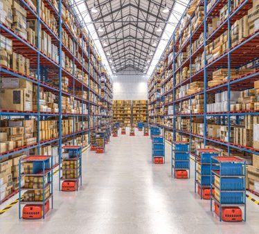 """""""Modern warehouse with automated goods movement system. Premium Photo"""""""