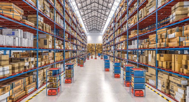 """Modern warehouse with automated goods movement system. Premium Photo"""